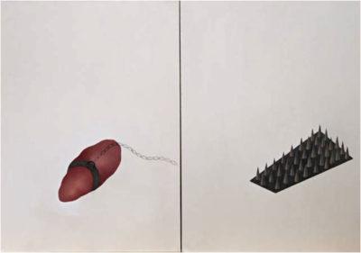 """""""Reptile in death breath"""", oil on canvas, 70 x 100 cm"""